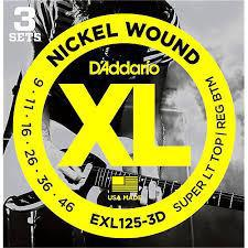 D'Addario EXL125 Nickel Wound Super Light Top/ Regular Bottom 9-46 3 Pack