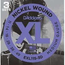 D'Addario EXL115 Nickel Wound Medium/Blues-Jazz Rock 11-49 3 Pack