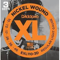 D'Addario EXL110 Nickel Wound Regular Light 10-46 3 Pack
