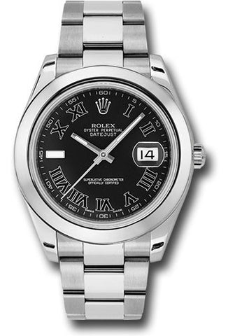 Rolex Oyster Perpetual Datejust II Mens Watch 116300 Black Roman