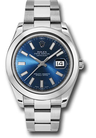 Rolex Oyster Perpetual Datejust II Mens Watch 116300 Blue Index