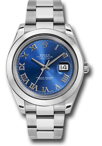 Rolex Oyster Perpetual Datejust II Mens Watch 116300 Blue Roman