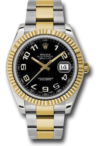 Rolex Oyster Perpetual Datejust II Mens Watch 116333 Black Arabic
