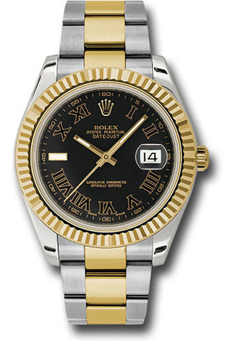 Rolex Oyster Perpetual Datejust II Mens Watch 116333 Black Roman