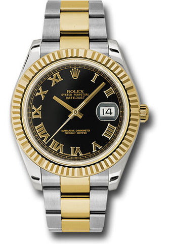 Rolex Oyster Perpetual Datejust II Mens Watch 116333 Black Solid Roman