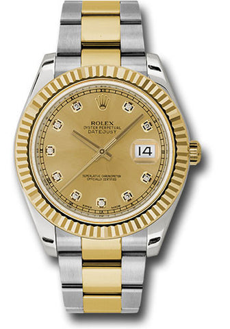Rolex Oyster Perpetual Datejust II Mens Watch 116333 Champagne Diamond