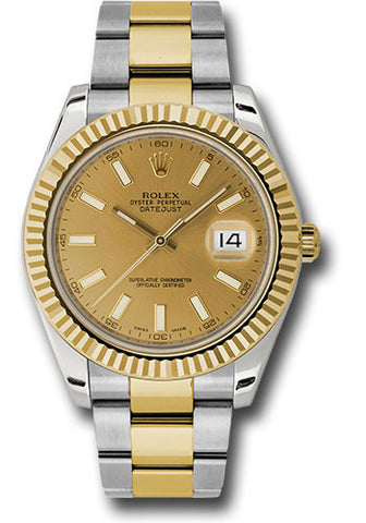 Rolex Oyster Perpetual Datejust II Mens Watch 116333 Champagne Index