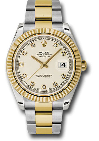 Rolex Oyster Perpetual Datejust II Mens Watch 116333 Ivory Diamond