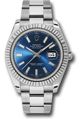Rolex Oyster Perpetual Datejust II Mens Watch 116334 Blue Index