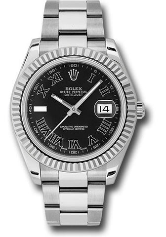 Rolex Oyster Perpetual Datejust II Mens Watch 116334 Black Roman