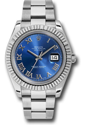 Rolex Oyster Perpetual Datejust II Mens Watch 116334 Blue Roman