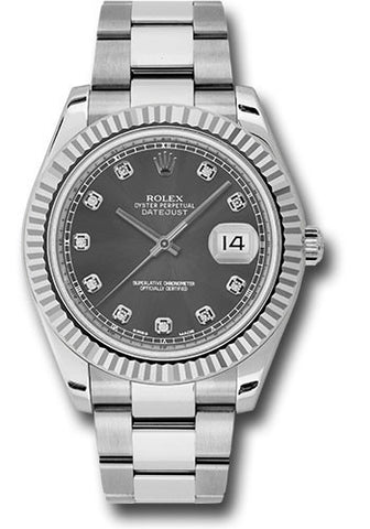 Rolex Oyster Perpetual Datejust II Mens Watch 116334 Rhodium Diamond
