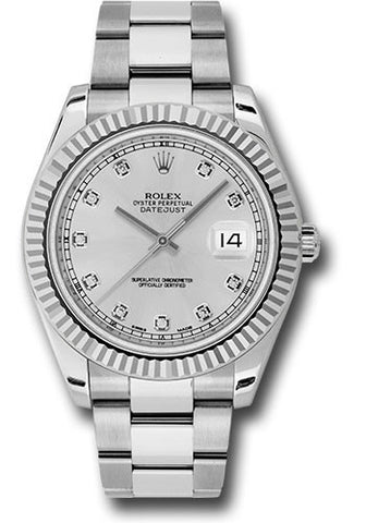 Rolex Oyster Perpetual Datejust II Mens Watch 116334 Silver Diamond