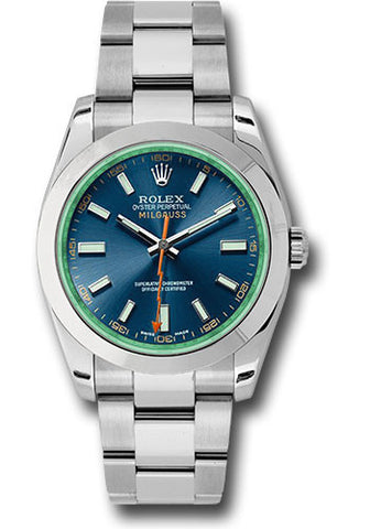 Rolex Milgauss 40mm Mens Watch 116400gv Blue Green