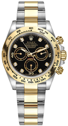 Rolex Cosmograph Daytona Steel and Gold Mens Watch 116503 Black Diamond Oyster