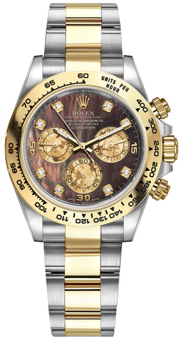 Rolex Cosmograph Daytona Steel and Gold Mens Watch 116503 Black MOP Gold Crystals Diamond Oyster