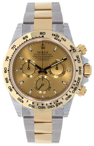 Rolex Cosmograph Daytona Steel and Gold Mens Watch 116503 Champagne Index Oyster