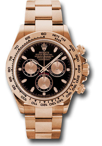 Rolex Cosmograph Daytona Everose Gold Mens Watch 116505 Black and Pink Index