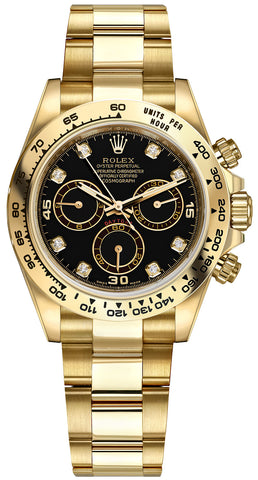 Rolex Cosmograph Daytona Yellow Gold Mens Watch 116508 Black Diamond Oyster