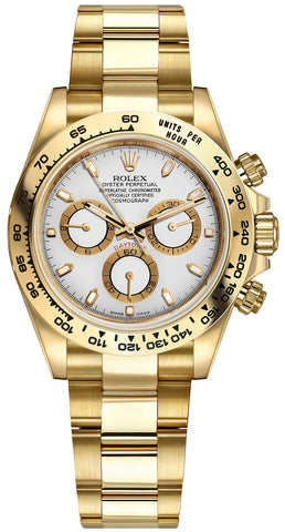 Rolex Cosmograph Daytona Yellow Gold Mens Watch 116508 White Index Oyster