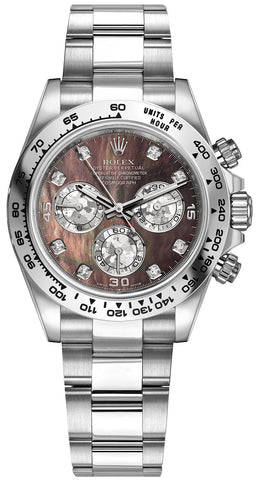 Rolex Cosmograph Daytona White Gold Mens Watch 116509 Black MOP Gold Crystals Diamond Oyster