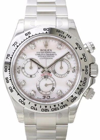Rolex Cosmograph Daytona White Gold Mens Watch 116509 White MOP Diamond Oyster