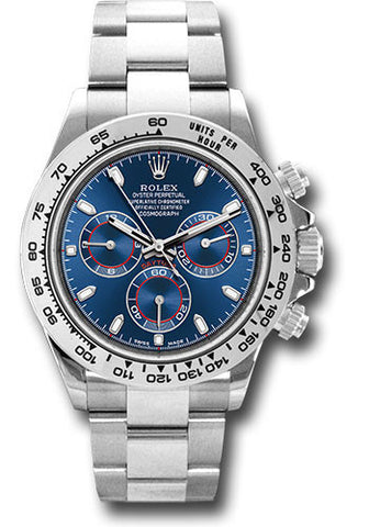 Rolex Cosmograph Daytona White Gold Mens Watch 116509 Blue Index Oyster