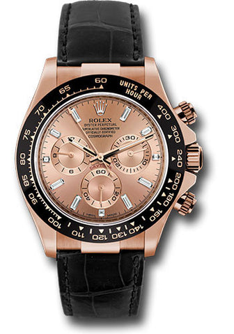 Rolex Cosmograph Daytona Everose Gold Mens Watch 116515 Pink Baguette Index