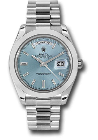 Rolex Day-Date 40mm Platinum Mens Watch 228206 Ice Blue Baguette Index