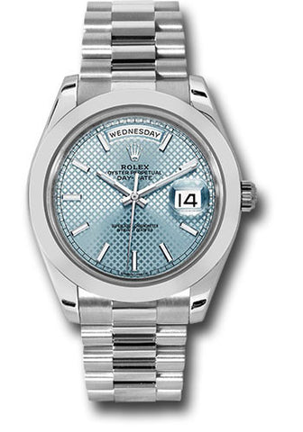 Rolex Day-Date 40mm Platinum Mens Watch 228206 Ice Blue Diagonal Index