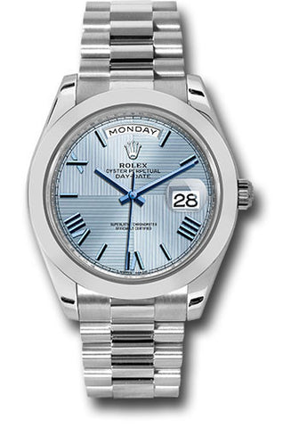 Rolex Day-Date 40mm Platinum Mens Watch 228206 Ice Blue Quadrant Roman