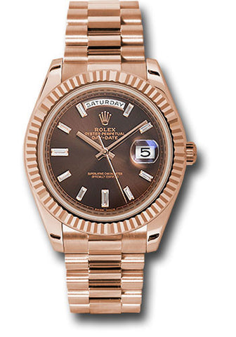 Rolex Day-Date 40mm Everose Gold Mens Watch 228235 Chocolate Baguette Index