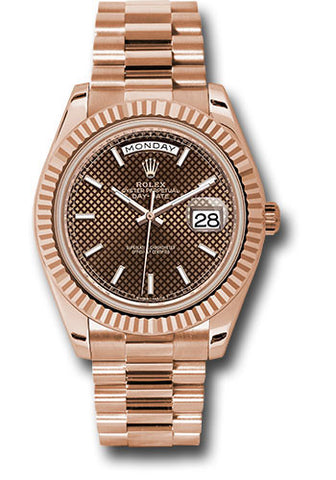 Rolex Day-Date 40mm Everose Gold Mens Watch 228235 Chocolate Diagonal Index