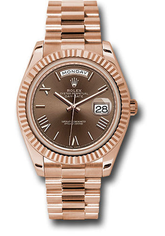 Rolex Day-Date 40mm Everose Gold Mens Watch 228235 Chocolate Roman