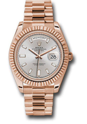 Rolex Day-Date 40mm Everose Gold Mens Watch 228235 Sundust Baguette Index