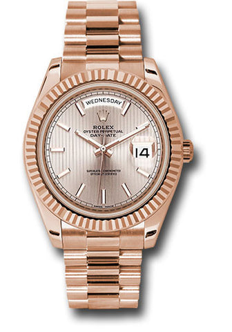 Rolex Day-Date 40mm Everose Gold Mens Watch 228235 Sundust Stripe Index
