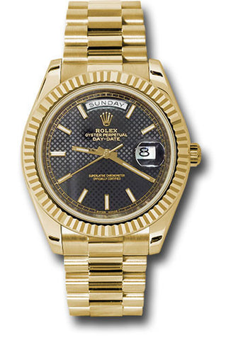 Rolex Day-Date 40mm Yellow Gold Mens Watch 228238 Black Diagonal Index