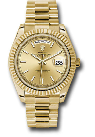 Rolex Day-Date 40mm Yellow Gold Mens Watch 228238 Champagne Index