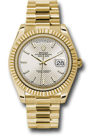Rolex Day-Date 40mm Yellow Gold Mens Watch 228238 Silver Diagonal Index