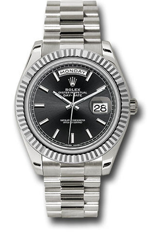 Rolex Day-Date 40mm White Gold Mens Watch 228239 Black Index