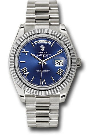 Rolex Day-Date 40mm White Gold Mens Watch 228239 Blue Roman