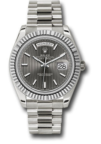 Rolex Day-Date 40mm White Gold Mens Watch 228239 Dark Rhodium Stripe Index