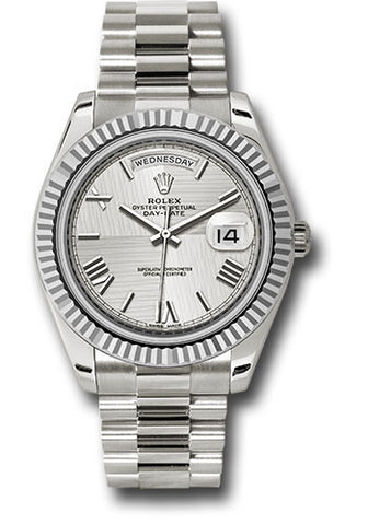 Rolex Day-Date 40mm White Gold Mens Watch 228239 Silver Roman