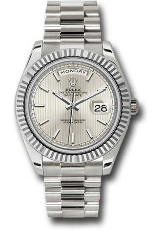 Rolex Day-Date 40mm White Gold Mens Watch 228239 Silver Stripe Index
