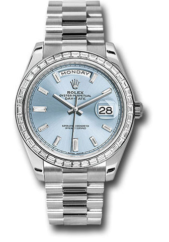 Rolex Day-Date 40mm Platinum Mens Watch 228396TBR Ice Blue Baguette Index