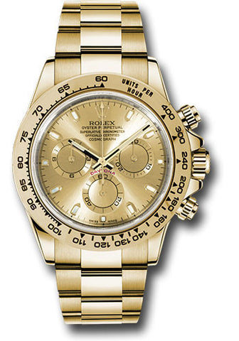 Rolex Cosmograph Daytona Yellow Gold Mens Watch 116508 Champagne Index Oyster