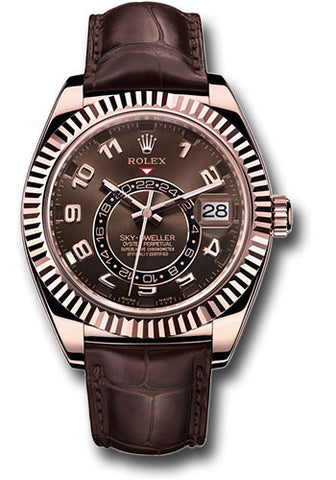 Rolex Sky Dweller 42mm Mens Watch 326135 Chocolate Arabic