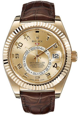 Rolex Sky Dweller 42mm Mens Watch 326138 Champagne Arabic
