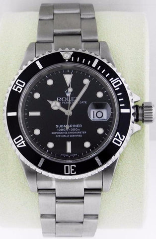 PRE-OWNED Rolex Submariner Black Dial Stainless Steel Oyster Bracelet Automatic Men's Watch 16610