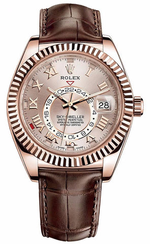 Rolex Sky Dweller 42mm Mens Watch 326135 Sundust Roman